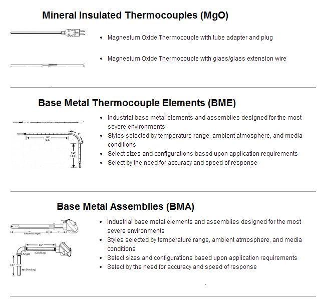 Mgo thermocouple, base metal thermocouple, type K thermocouple